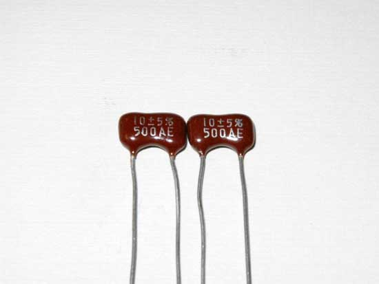 10pF 500VDC Silver Mica Capacitor 2 Pack