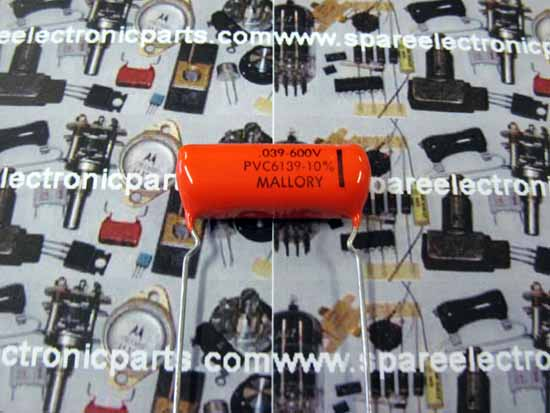 .039uF 600VDC Polyester Film Capacitor - Mallory PVC6139