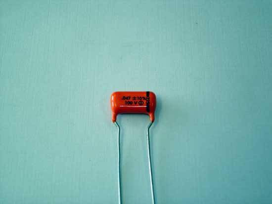 .047uF, 100VDC Polyester Film Sprague Orange Drop Capacitor