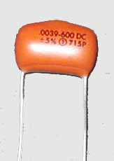 .0039uF, 600VDC Sprague Orange Drop Capacitor