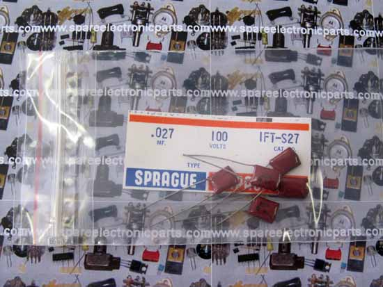 .027uF 100VDC Sprague 1FT-S27 Polyester Film Capacitor - 5 Pack